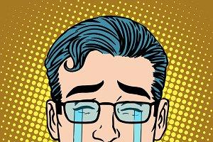 Emoji crying sadness man face icon s