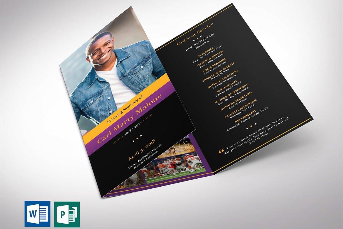 Purple Gold Tri-Fold Funeral Program