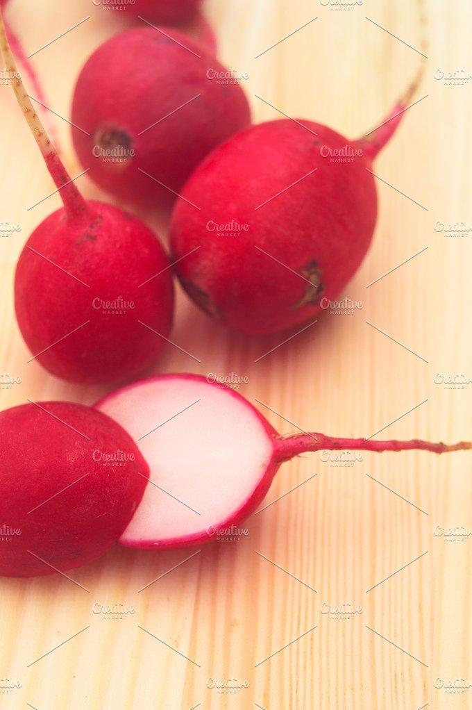 fresh radishes over wood table H10 1.jpg - Food & Drink