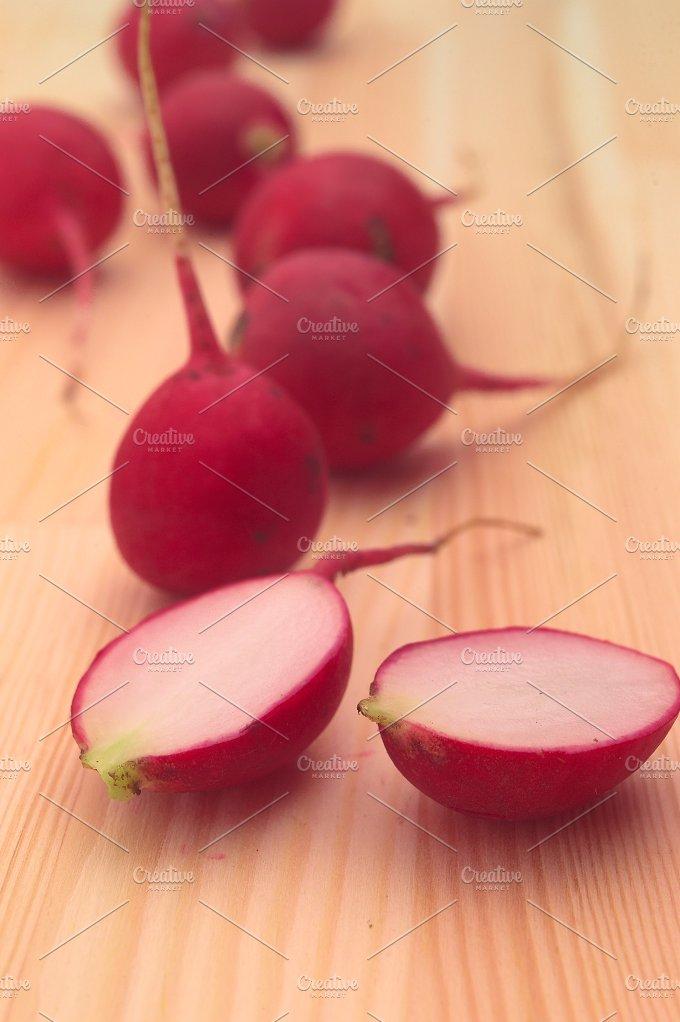 fresh radishes over wood table H10 4.jpg - Food & Drink