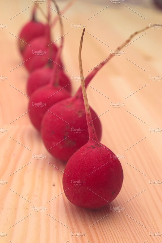 fresh radishes over wood table H10 6.jpg - Food & Drink