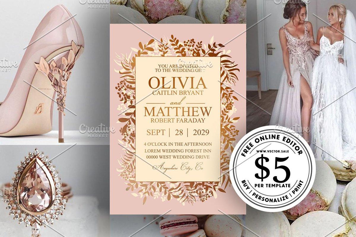Gold greenery wedding invitation