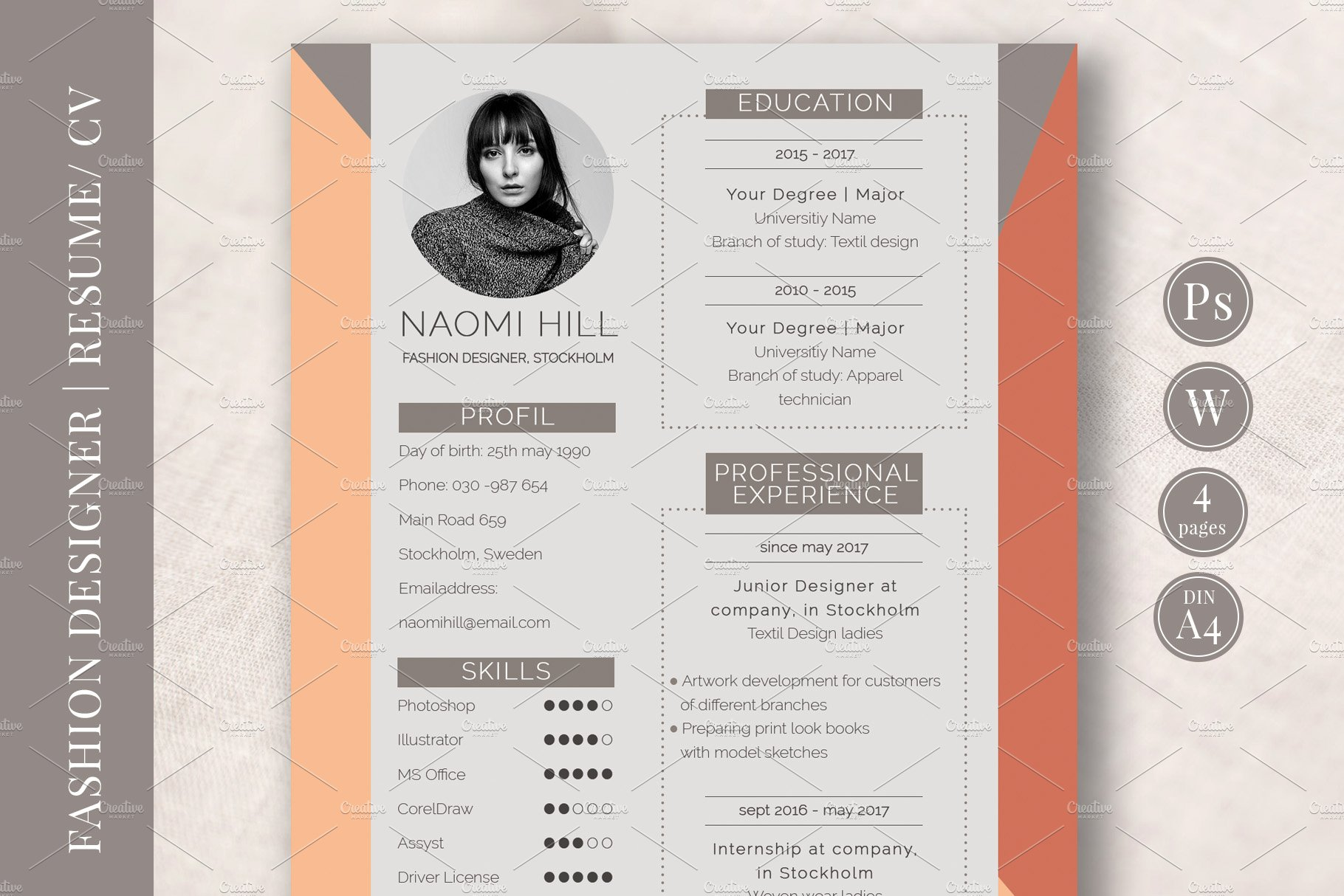 Fashion Cv Template from images.creativemarket.com