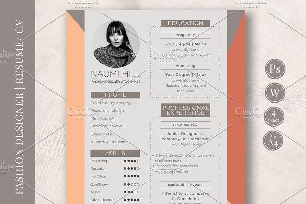Resume Template Fashion Industry Creative Photoshop Templates Creative Market