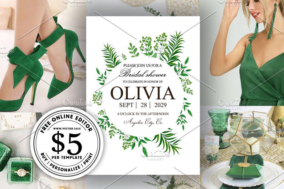 Greenery herbs wedding invitation