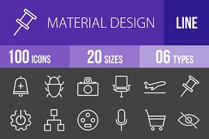 100 Material Design Line Inverted