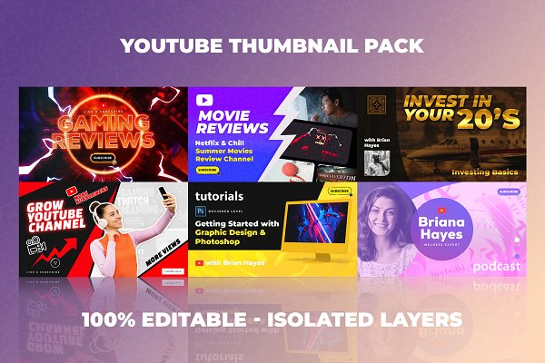Youtube Thumbnail Templates Set 3