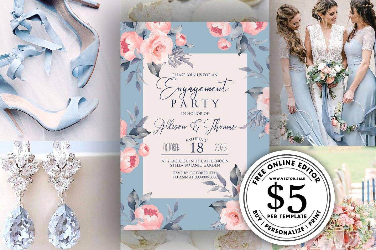 Pink peony blue wedding invitation