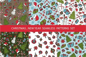 Christmas,new year seamless patterns