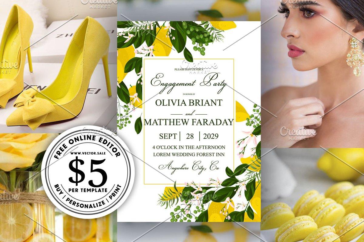 Lemon yellow wedding invitation