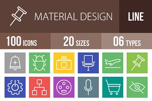 100 Material Design Line Multicolor