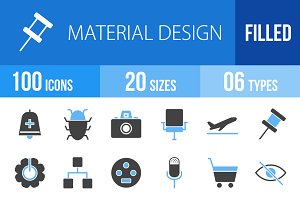 100 Material Design Blue&Black Icons