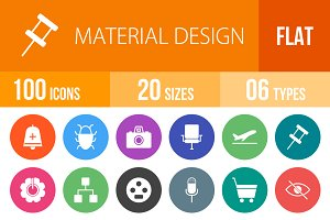 100 Material Design Flat Round Icons