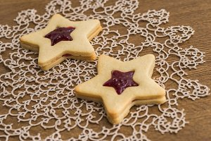 Star shaped jam and butter cookies