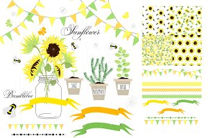Sunflowers, Mason Jars,digital paper