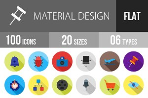 100 Material Design Flat Shadowed