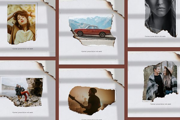 Paper torn & burn photo templates
