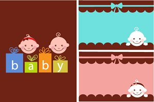Baby shower set of cards and icons