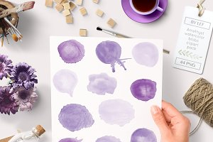 Watercolor Round Blob Graphics Drips