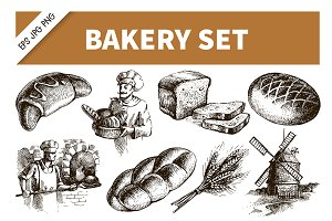 Sketch Bakery Hand Drawn Set