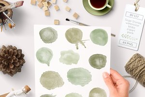 Sage Green Watercolour Clip Art