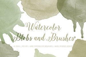 Watercolor Blob PS Brushes bonus PNG