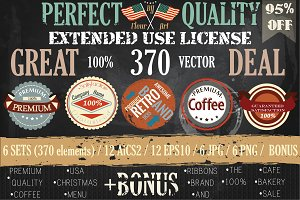 Bundle of retro vector labels