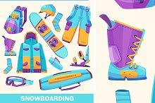 Vector snowboarding elements