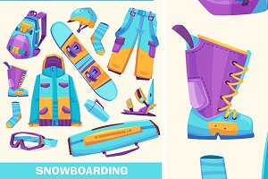 Vector snowboarding elements