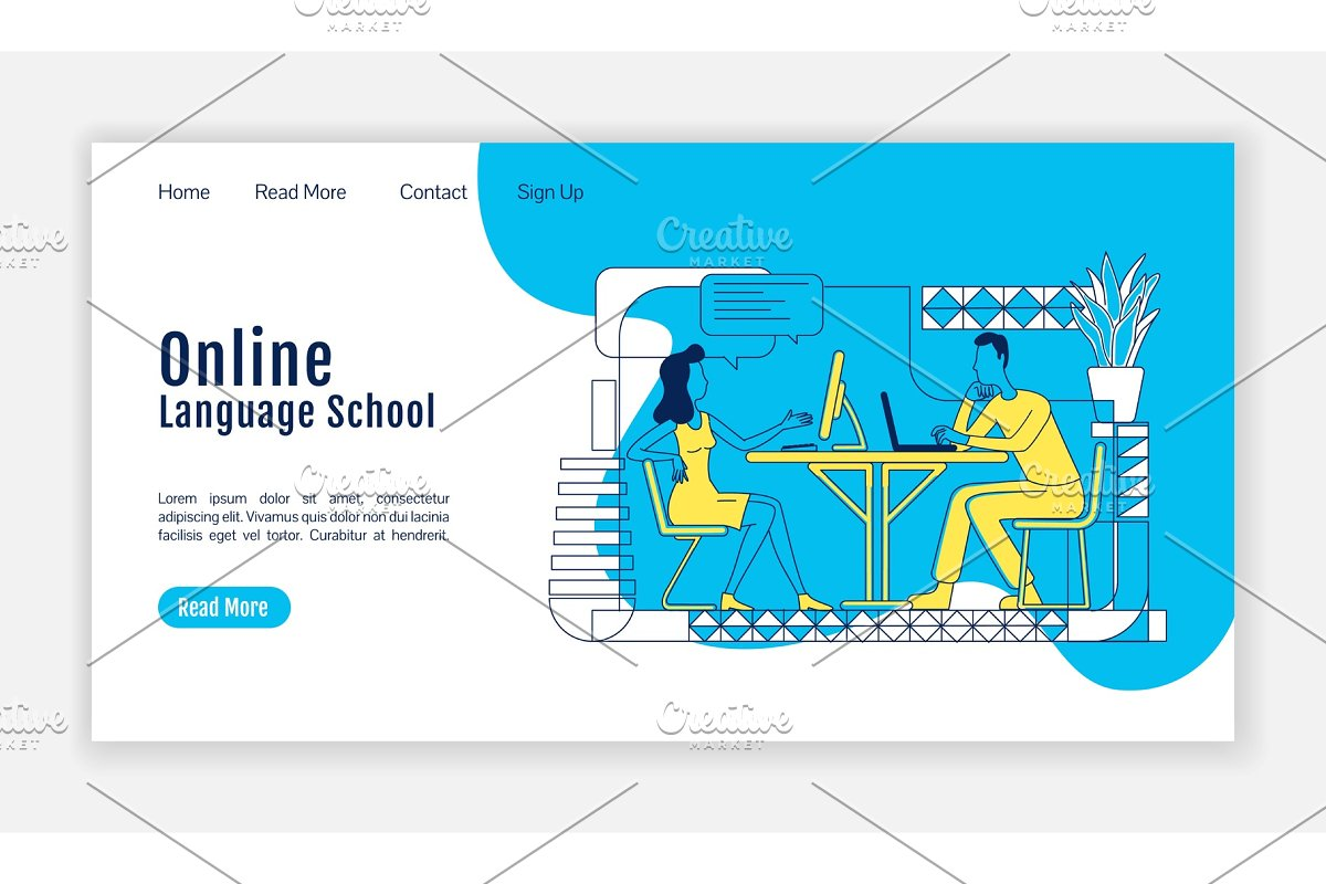 Online language school landing page