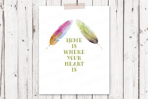 Feathers watercolor printable quote