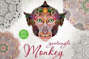 Zentangle monkey head