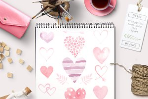 Heart Watercolor Graphics 64 PNG