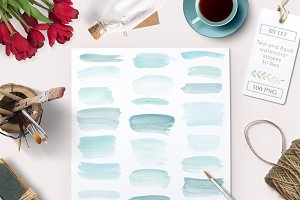 Hand Painted Watercolor Strokes Teal