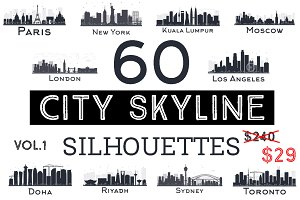 60 City Skyline Silhouettes Set