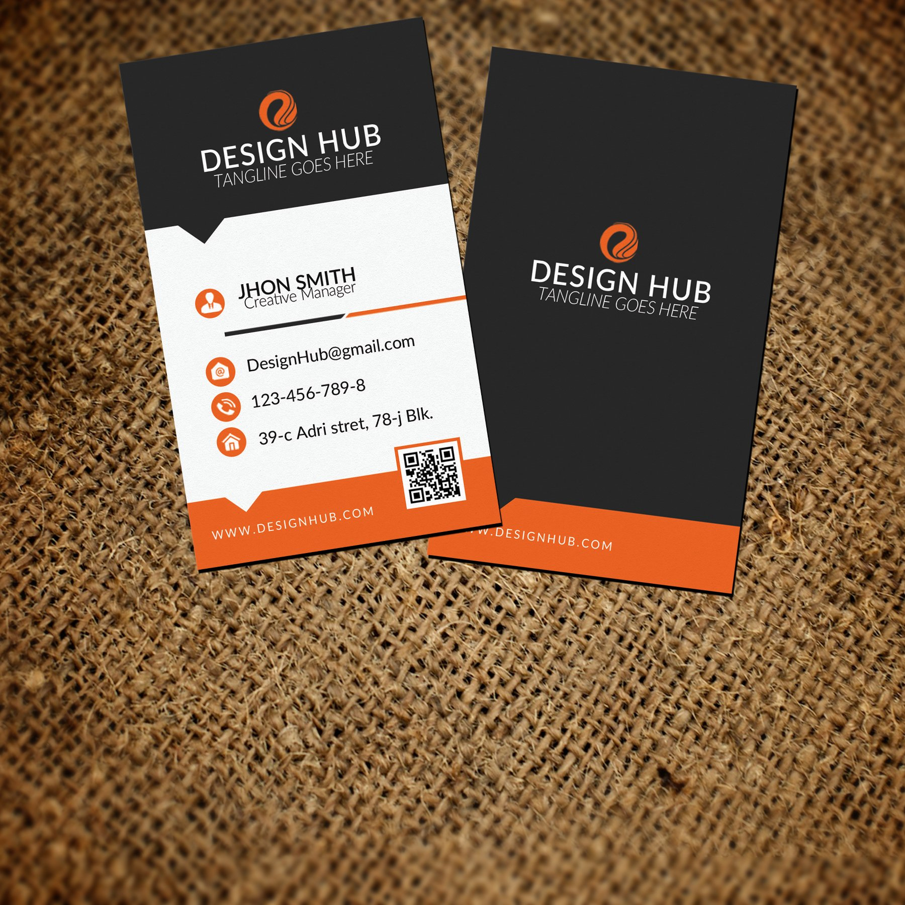 Vertical Business Card Template ~ Business Card Templates ~ Creative ...