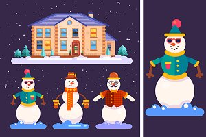 Set of snowmen and cute house