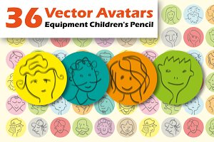 Hand drawn cartoon avatars people