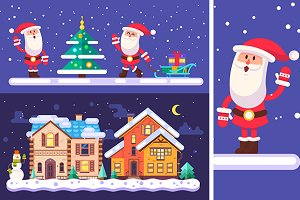Set of funny santa and cute village