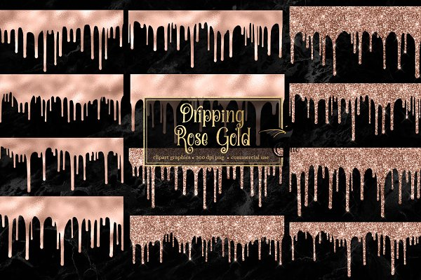 Dripping Rose Gold Clipart