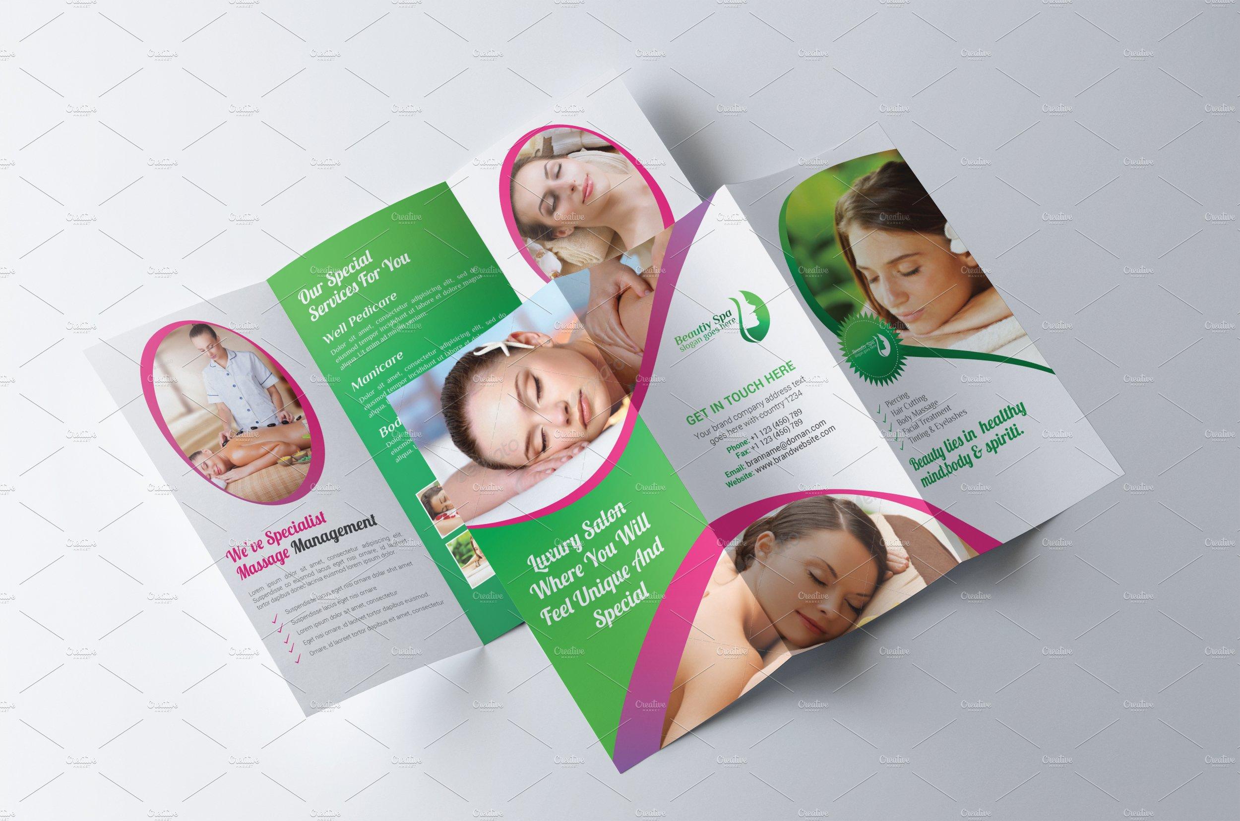 Tri-fold Spa & Beauty Salon Brochure ~ Brochure Templates ~ Creative ...