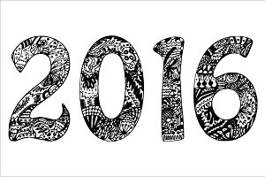 2016 with hand-drawn pattern