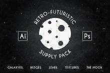 Retro-futuristic badges and supplyes