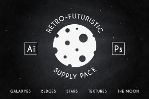 Retro-futuristic badges and supplyes