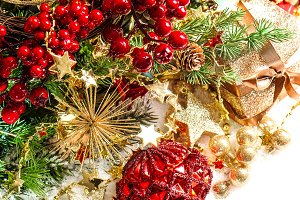 Red baubles and golden garlands