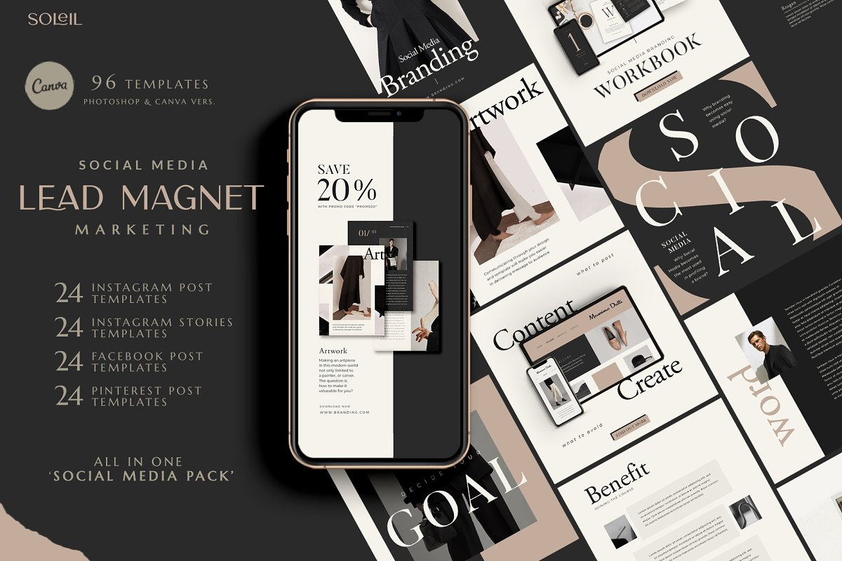 Lead Marketing Bundle   Canva & PS in Instagram Templates - product preview 8