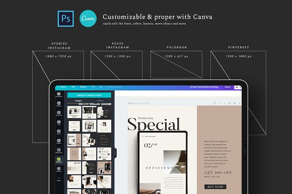 Lead Marketing Bundle   Canva & PS in Instagram Templates - product preview 1