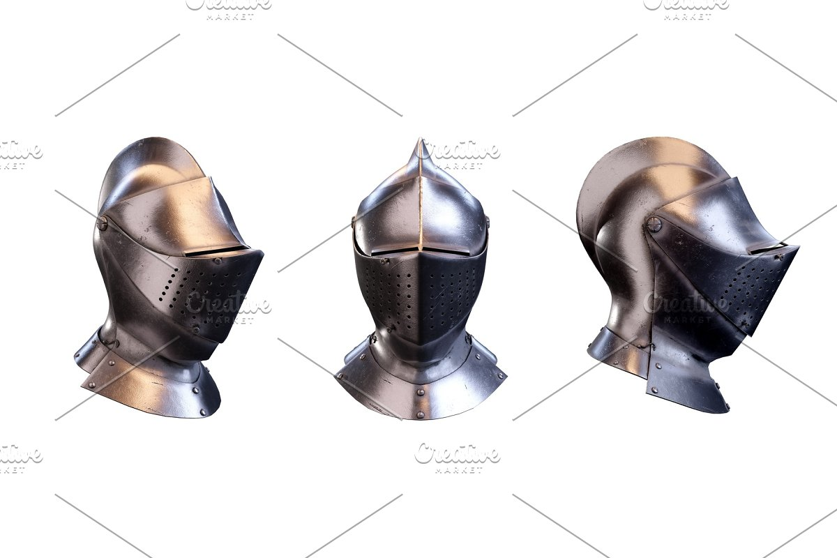 Set of Medieval Knight Armet Helmet