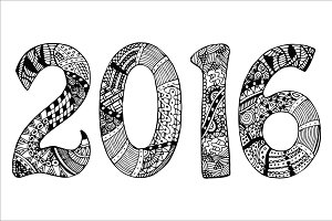 2016 with zentangle pattern