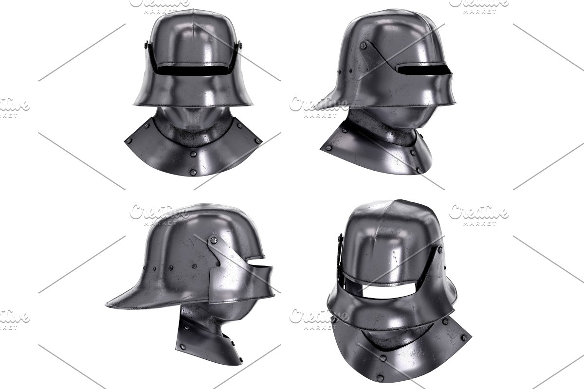 Set of Medieval Knight Sallet Helmet